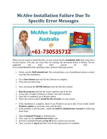 McAfee Installation Failure Due To Specific Error Messages