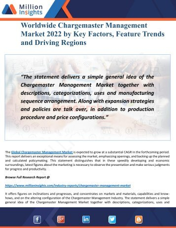 Chargemaster Management Market 2022:- Driving Factors