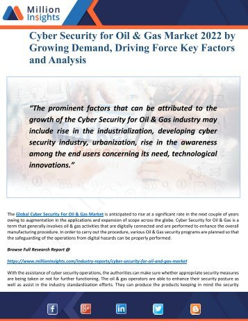 Cyber Security for Oil & Gas Market 2022- Outlook, Driving Force