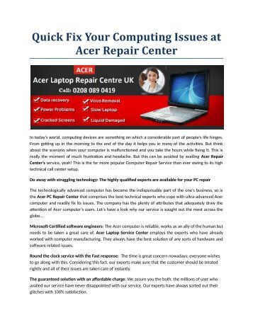 Quick Fix Your Computing Issues at Acer Repair Center