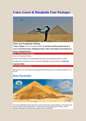 Cairo, Luxor & Hurghada Tour Packages