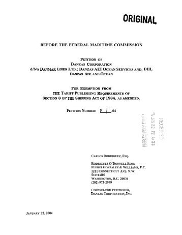 ORIGINAL - Federal Maritime Commission