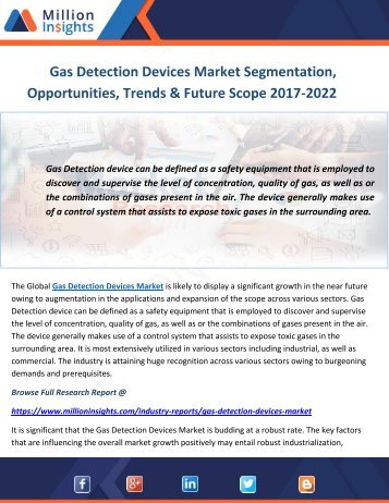Gas Detection Devices Market Segmentation, Opportunities, Trends & Future Scope 2017-2022