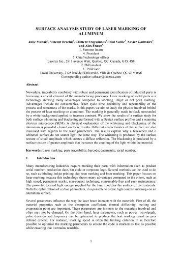 Surface Aanlysis Study of Laser Marking of Aluminum