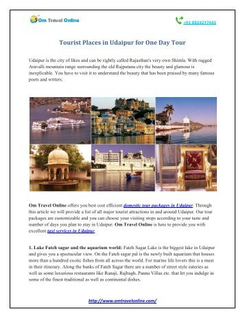 Tourist Places in Udaipur for One Day Tour