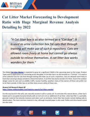 Cat Litter Market by Material Type, Application and End-User Industry - Global Opportunity Analysis and Industry Forecast 2022