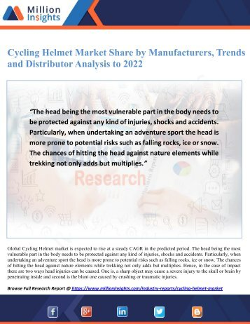 Cycling Helmet Market Share by Manufacturers, Trends and Distributor Analysis to 2022