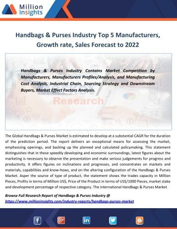 Handbags & Purses Industry Top 5 Manufacturers, Growth rate, Sales Forecast to 2022