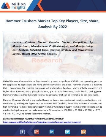 Hammer Crushers Market Top Key Players, Size, share, Analysis By 2022