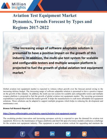 Aviation Test Equipment Market Dynamics, Trends Forecast by Types and Regions 2017-2022