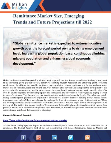 Remittance Market Size, Emerging Trends and Future Projections till 2022