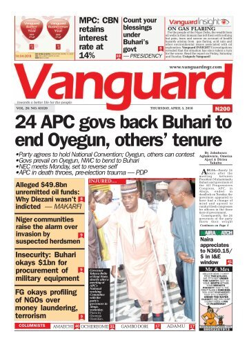 05042018 - 24 APC govs back Buhari to end Oyegun, others' tenure