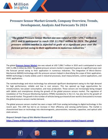 Pressure Sensor Market Growth, Company Overview, Trends, Development, Analysis And Forecasts To 2024