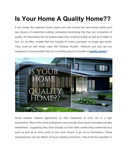 Is Your Builder Building A Quality Home Ask Now