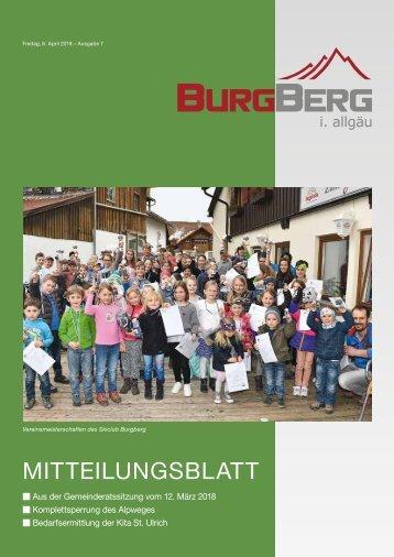 Burgberger Mitteilungsblatt vom 6. April 2018