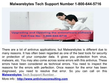 Malwarebytes Support Service Number 1-800-644-5716