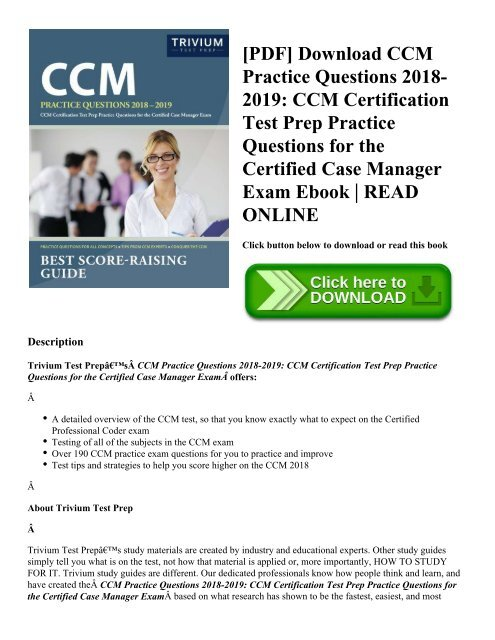 ccm test practice certification pdf questions exam ebook prep certified manager case read