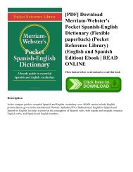 [PDF] Download Merriam-Webster's Pocket Spanish-English Dictionary (Flexible paperback) (Pocket Reference Library) (English and Spanish Edition) Ebook READ ONLINE