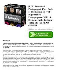 [PDF] Download Photographic Card Deck of The Elements: With Big Beautiful Photographs of All 118 Elements in the Periodic Table Ebook   READ ONLINE