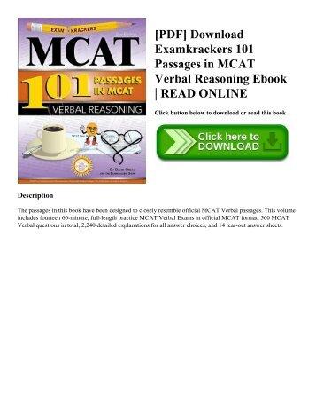 Mcat Verbal Reasoning Book