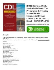 [PDF] Download CDL Study Guide Book: Test Preparation & Training Manual for the Commercial Drivers License (CDL) Exam Ebook   READ ONLINE