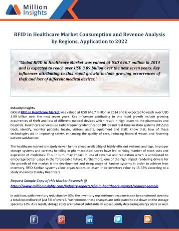 RFID in Healthcare Market Consumption and Revenue Analysis by Regions, Application to 2022