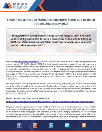 Smart Transportation Market Manufactures Status and Regional Outlook Analysis by 2024