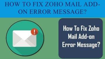 18002089523 Fix Zoho Mail Add-on Error Message