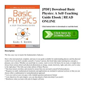 [PDF] Download Basic Physics: A Self-Teaching Guide Ebook | READ ONLINE