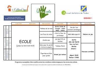 Programme des activités pour les vacances de Printemps à l'ALSH de Taden