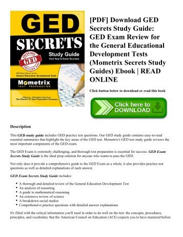 [PDF] Download GED Secrets Study Guide: GED Exam Review for the General Educational Development Tests (Mometrix Secrets Study Guides) Ebook | READ ONLINE
