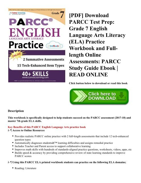 Pdf Download Parcc Test Prep Grade 7 English Language Arts Literacy Ela Practice Workbook And Full Length Onlineessments Parcc Study Guide Ebook