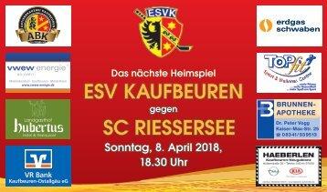 Das nächste Heimspiel: ESV KAUFBEUREN gegen SC RIESSERSEE