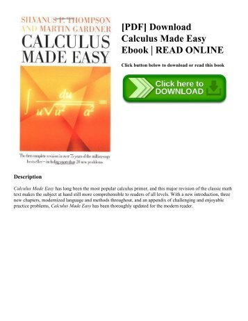 [PDF] Download Calculus Made Easy Ebook | READ ONLINE