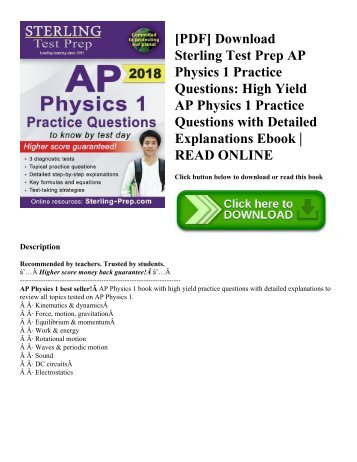[PDF] Download Sterling Test Prep AP Physics 1 Practice Questions: High Yield AP Physics 1 Practice Questions with Detailed Explanations Ebook | READ ONLINE