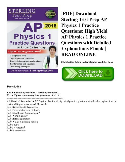 PDF] Download Sterling Test Prep AP Physics 1 Practice Questions
