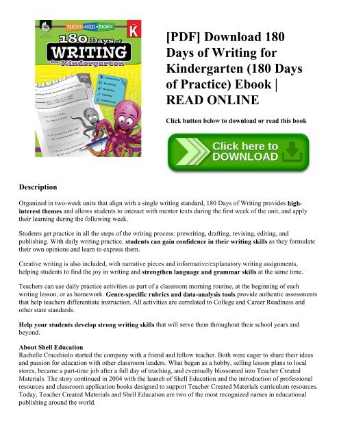 Pdf Download 180 Days Of Writing For Kindergarten 180 Days