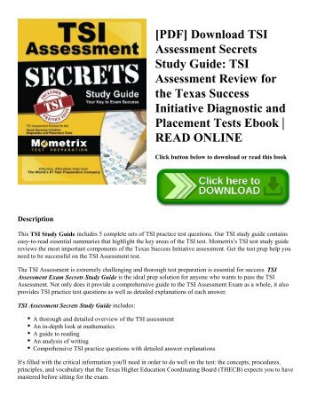 [PDF] Download TSI Assessment Secrets Study Guide: TSI Assessment Review for the Texas Success Initiative Diagnostic and Placement Tests Ebook | READ ONLINE