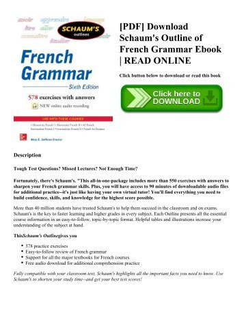 [PDF] Download Schaum's Outline of French Grammar Ebook | READ ONLINE