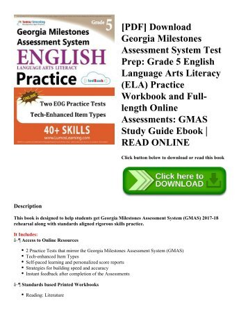 [PDF] Download Georgia Milestones Assessment System Test Prep: Grade 5 English Language Arts Literacy (ELA) Practice Workbook and Full-length Online Assessments: GMAS Study Guide Ebook | READ ONLINE