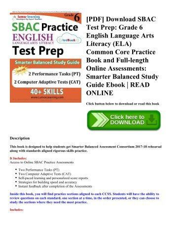 [PDF] Download SBAC Test Prep: Grade 6 English Language Arts Literacy (ELA) Common Core Practice Book and Full-length Online Assessments: Smarter Balanced Study Guide Ebook   READ ONLINE
