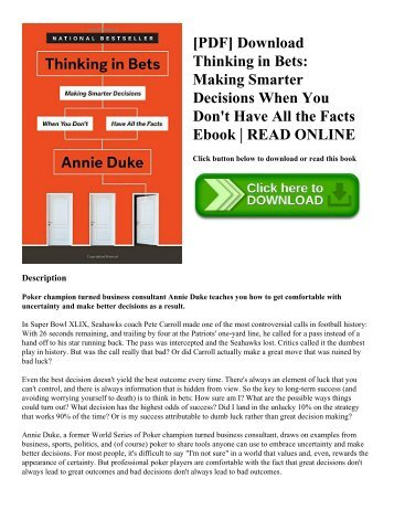 pdf download thinking in bets making smarter decisions when you