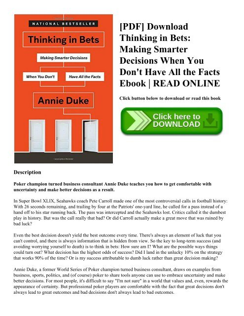 PDF] Download Thinking in Bets: Making Smarter Decisions When You