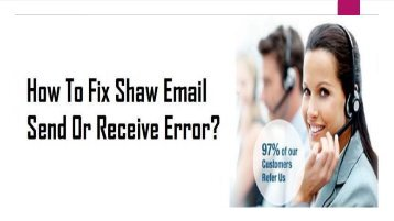1-800-213-3740 | Fix Shaw Email Send or Receive Error