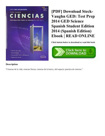 [PDF] Download Steck-Vaughn GED: Test Prep 2014 GED Science Spanish Student Edition 2014 (Spanish Edition) Ebook | READ ONLINE