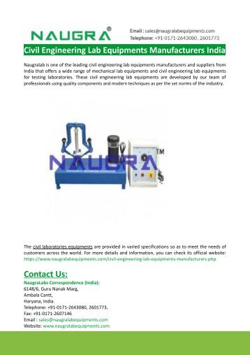 Civil Engineering Lab Equipments Manufacturers India-Naugralabs