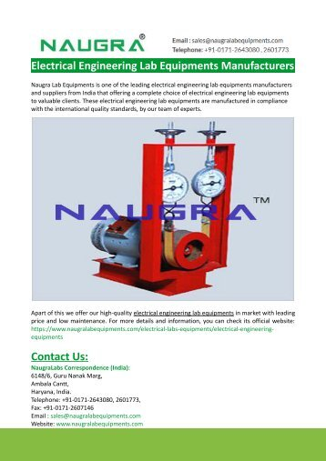 Electrical Engineering Lab Equipments Manufacturers-Naugralabs