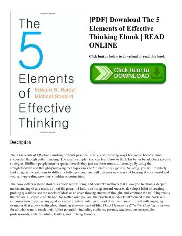 [PDF] Download The 5 Elements of Effective Thinking Ebook | READ ONLINE