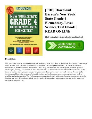 [PDF] Download Barron's New York State Grade 4 Elementary-Level Science Test Ebook | READ ONLINE