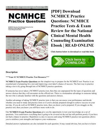 [PDF] Download NCMHCE Practice Questions: NCMHCE Practice Tests & Exam Review for the National Clinical Mental Health Counseling Examination Ebook | READ ONLINE